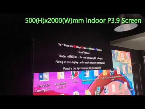 Text on a very small 500(h) x 2000(w)mm indoor P3.9 Parrot Screen
