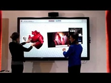 Parrot Interactive showcasing multi-touch on the human anatomy and a digital chalkboard