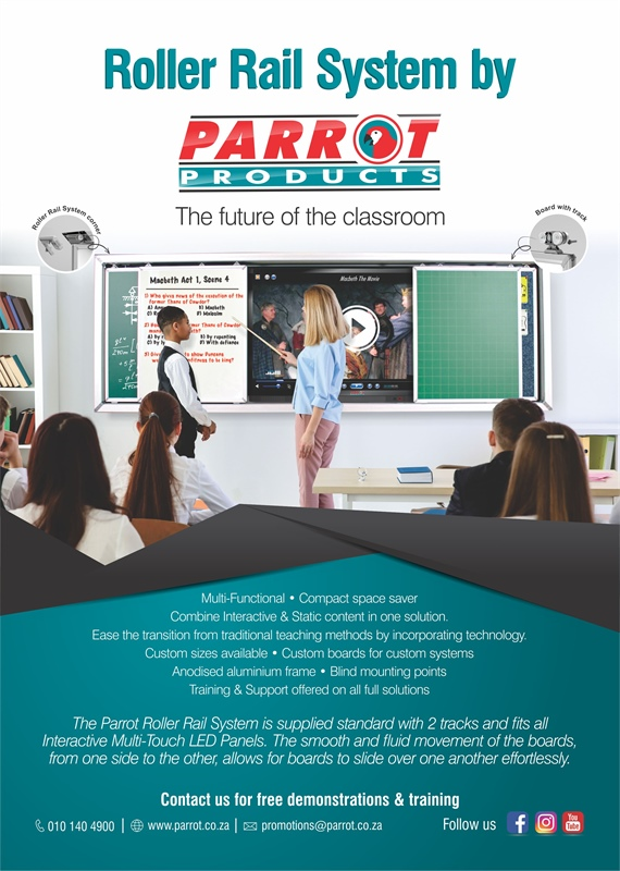 Parrot's Roller Rail System advertised in ISASA Independent Education