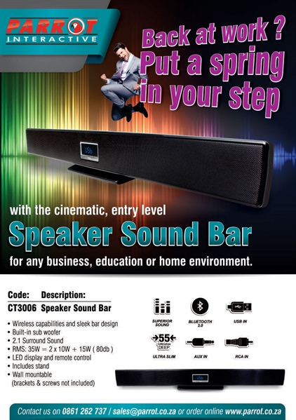 Set the mood with the awesome Parrot Speaker Soundbar