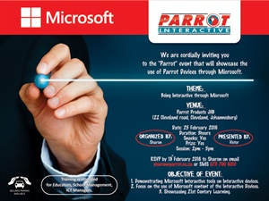 Event - Miscrosoft on Parrot Products touch devices