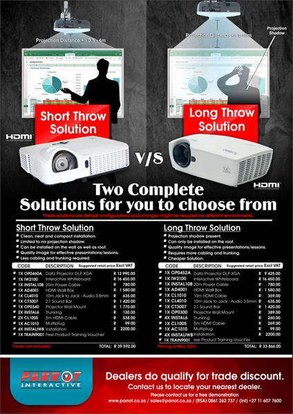 Parrot Interactive Short Throw v/s Long Throw Solution