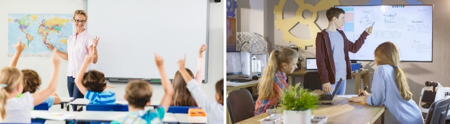 Teachers with Interactive Whiteboards and LED Panels