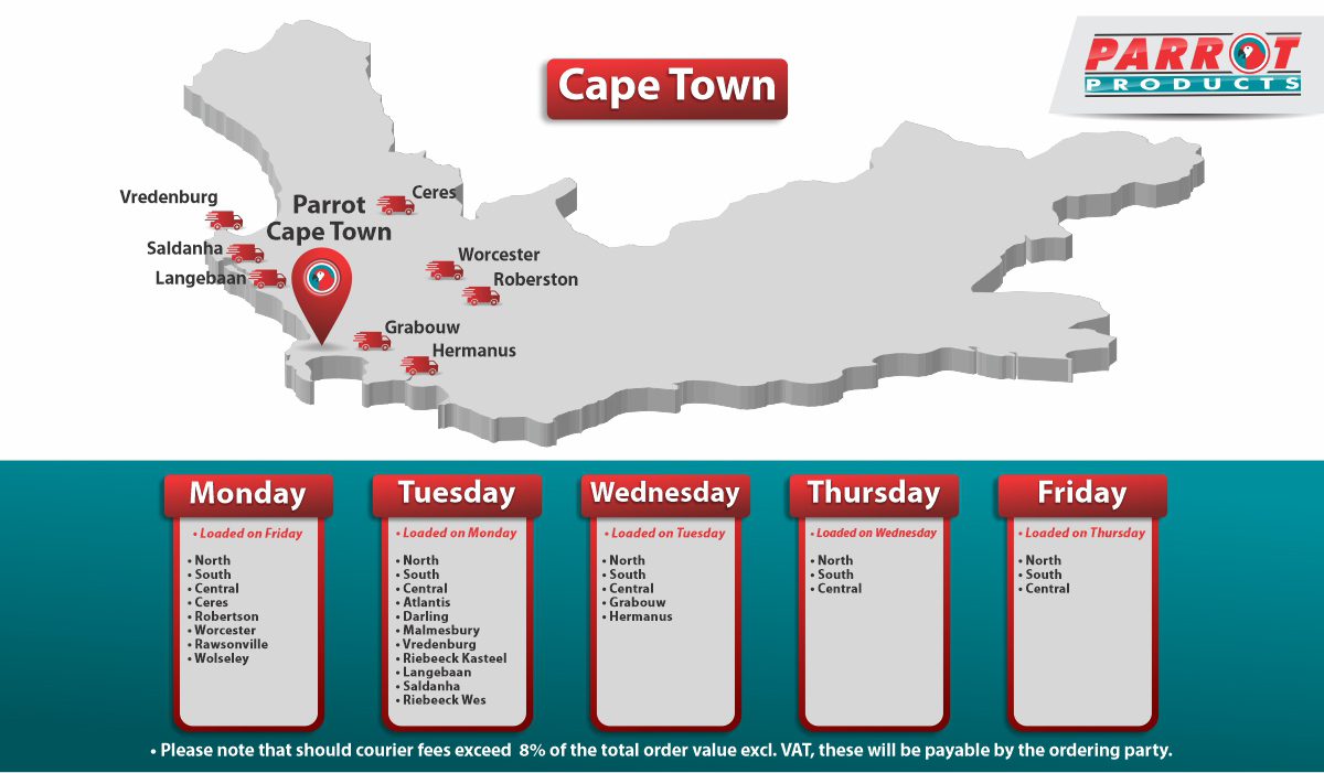 Parrot Products Cape Town Delivery Schedule