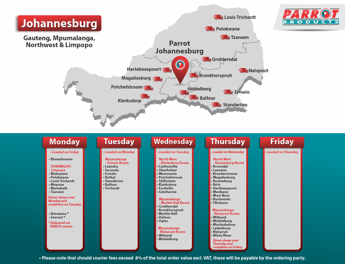 Parrot Products Johannesburg Delivery Schedule