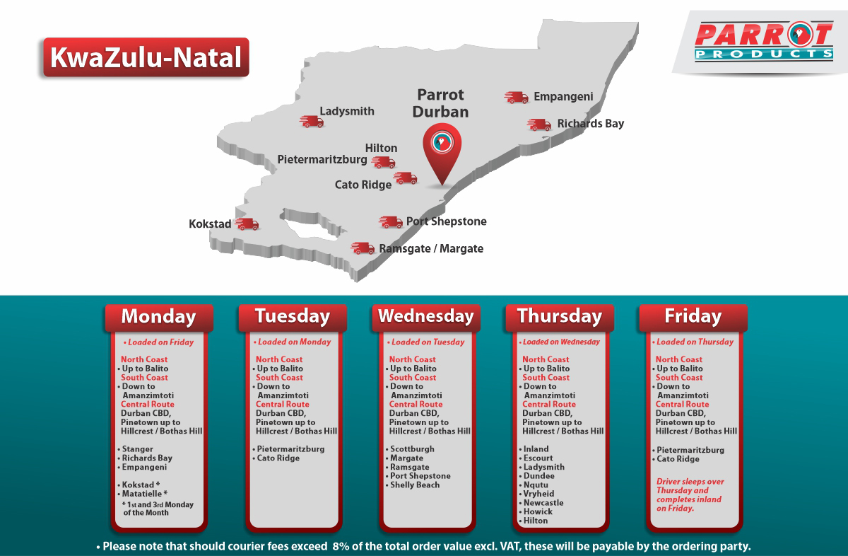 Parrot Products Kwa-Zulu Natal Delivery Schedule