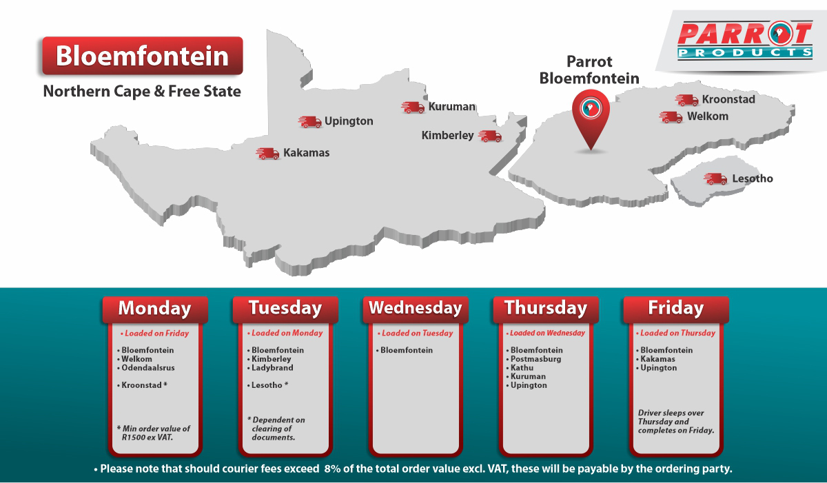 Parrot Products Bloemfontein Delivery Schedule