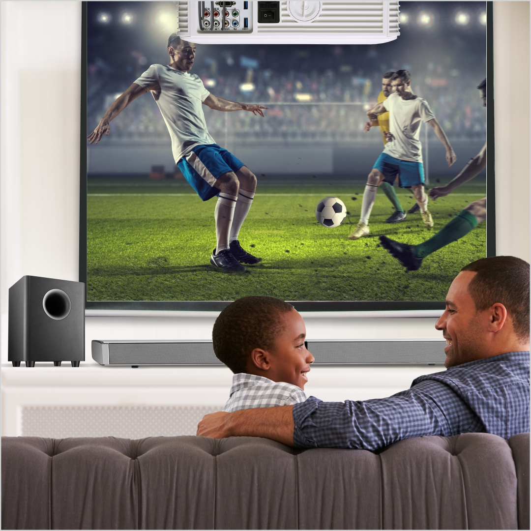 Dad and Son Soundbar and TV