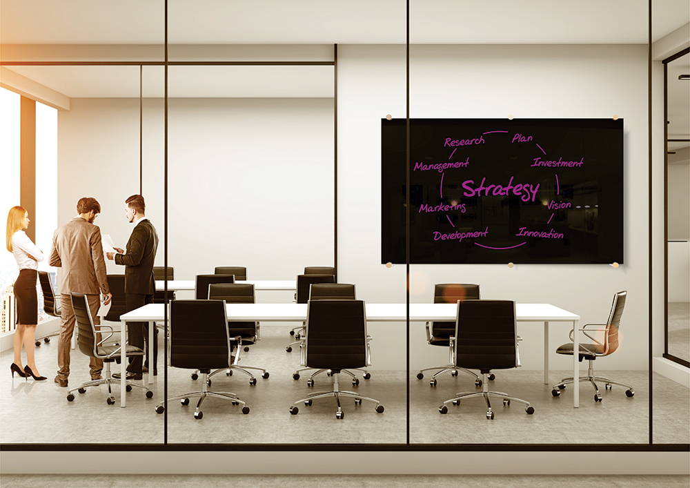 Glass Whiteboard Boardroom Black