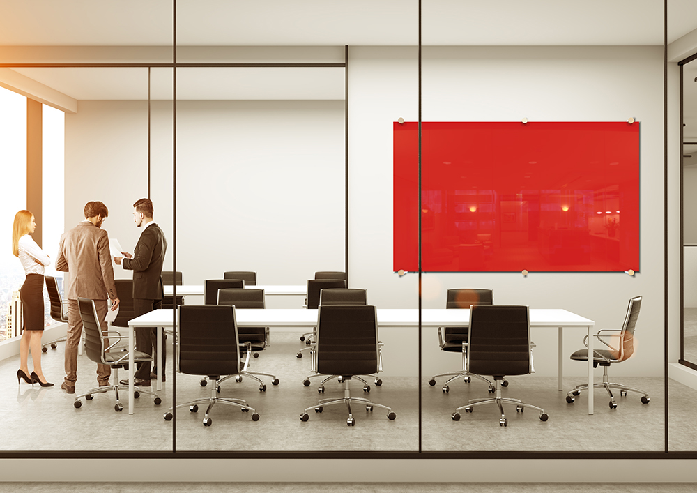 Glass Whiteboard Boardroom Red