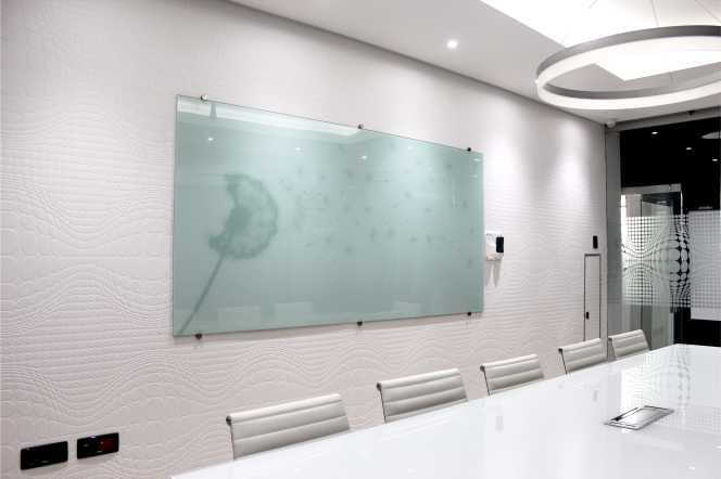 Printed Glass Whiteboard in a Boardroom